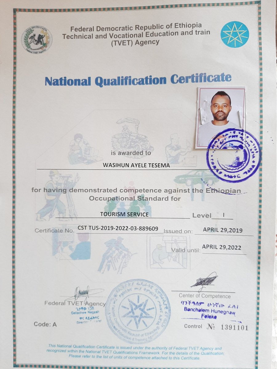 Our certificate of Tourism study at Lalibela Vocational Training College